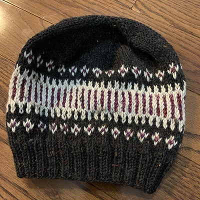 Off my needles is tincanknits Clayoquot Toque knit as a class sample!