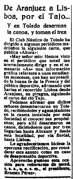 El castellano 30 julio 1932, noticia sobre la denuncia del Club Náutico de Toledo de un fraude en el descenso en piragua a Lisboa de unos escoceses