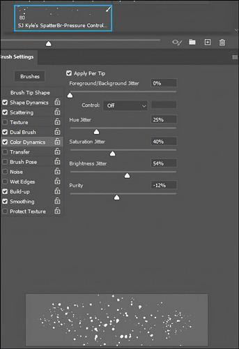 Image of the Color Dynamics section in PS Brush Settings Panel