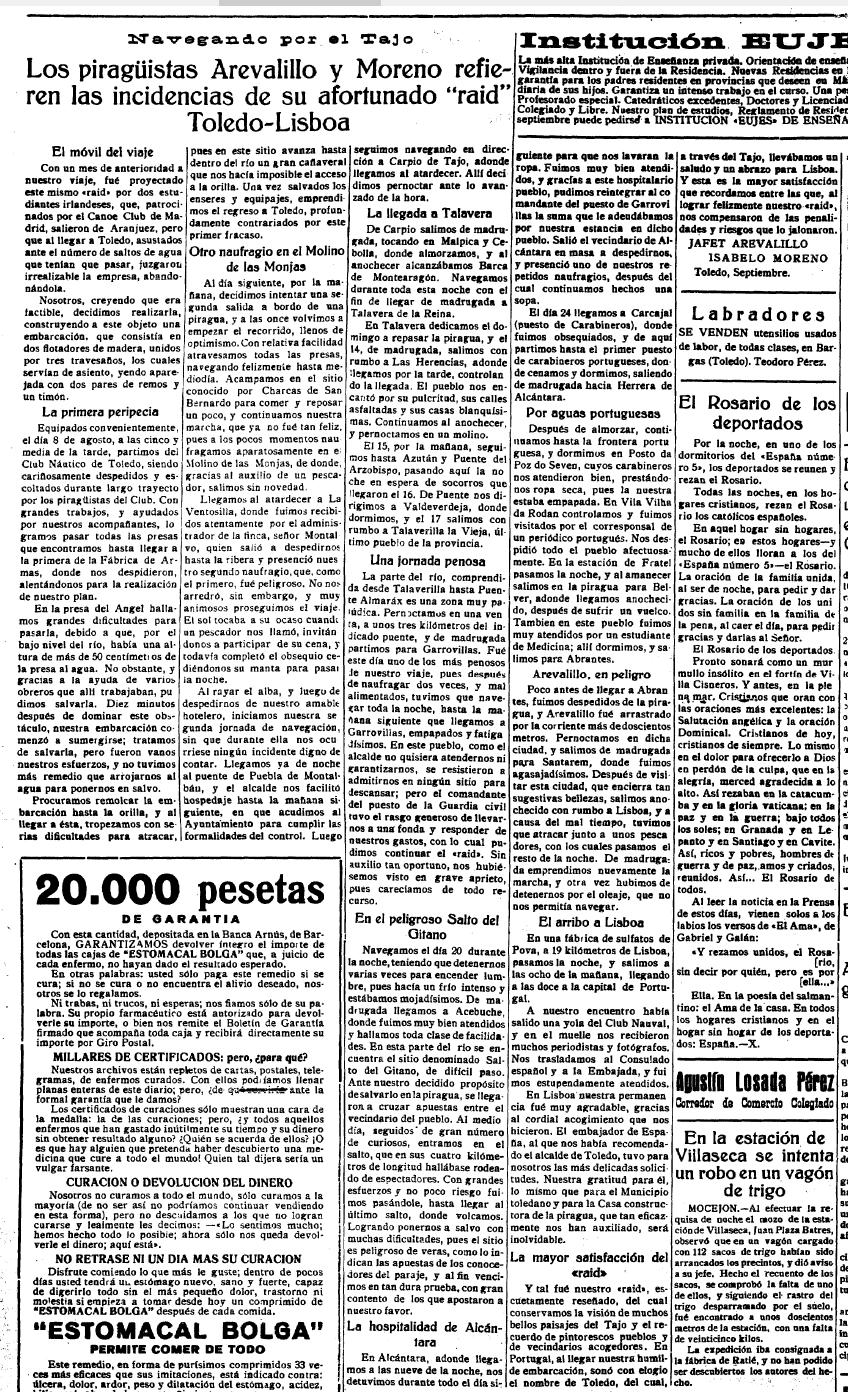 El Castellano 23 de septiembre de 1932, noticia del raid Toledo Lisboa de dos miembros del Club Náutico de Toledo