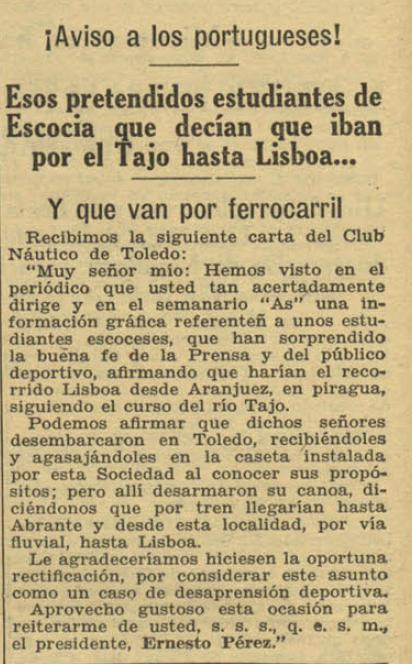 ahora 29 julio 1932, noticia sobre la denuncia del Club Náutico de Toledo de un fraude en el descenso en piragua a Lisboa de unos escoceses