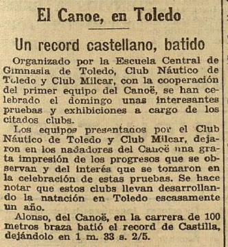 ahora 7 septiembre 1932, noticia sobre el Club Náutico de Toledo y un record de Castilla batido en la visita del Canoe