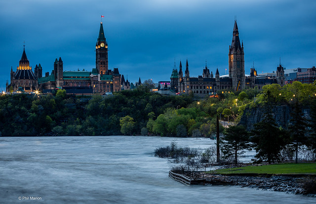 View of Parliament Hill and Ottawa River