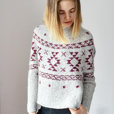 This is valentinasknits' Rug Sweater by Junko Okamoto knit with Garnstudio Drops Air