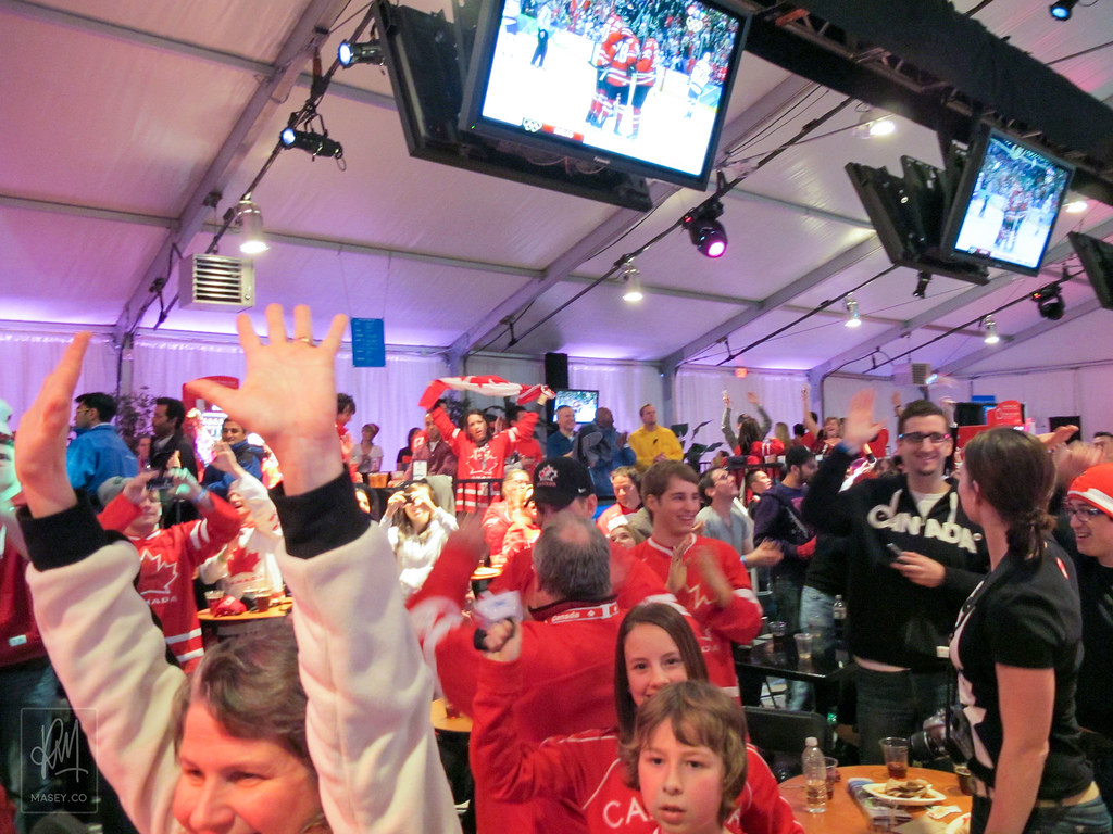 Celebrating the Team Canada win at LiveCity Downtown