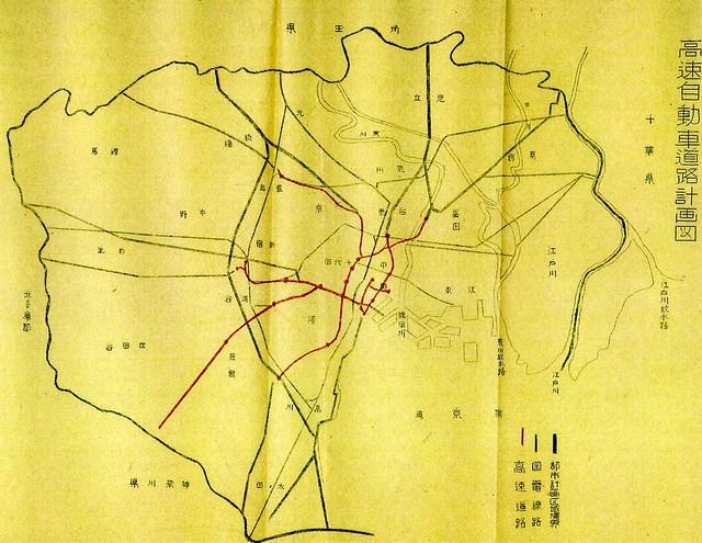 初期の首都高計画路線図