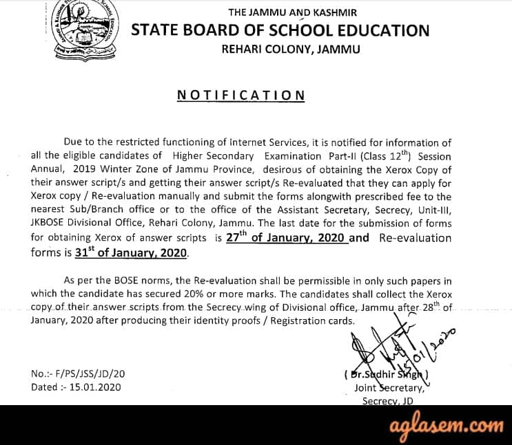 JKBOSE 12th Annual Result 2019 Jammu Division Winter Zone
