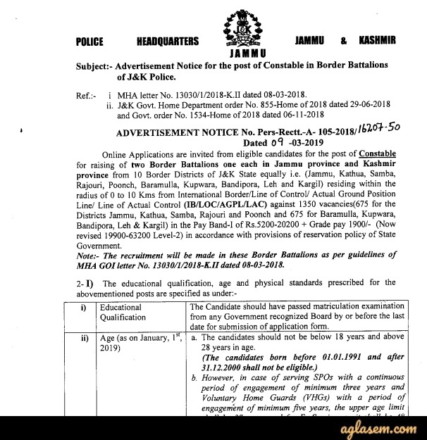 JK Police Recruitment Notification 2020