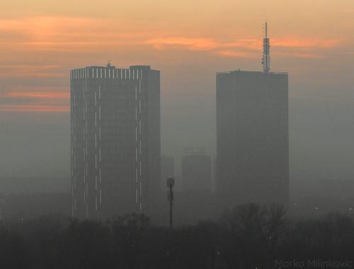 belgrade serbia beograd srbija air pollution polluted skyscraper skyscrapers buildings sunset city cities street view sky trees balkans skyline