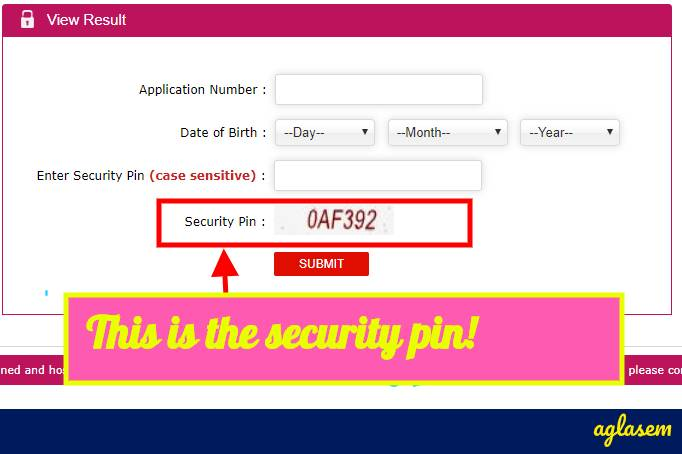What is security pin in JEE Main?