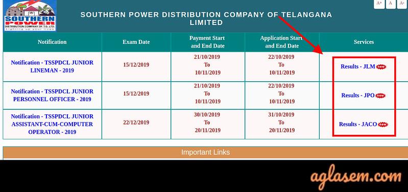 TSSPDCL Result 2019-2020 (JLM, JPO, JACO) Announced: Check @ tssouthernpower.cgg.gov.in
