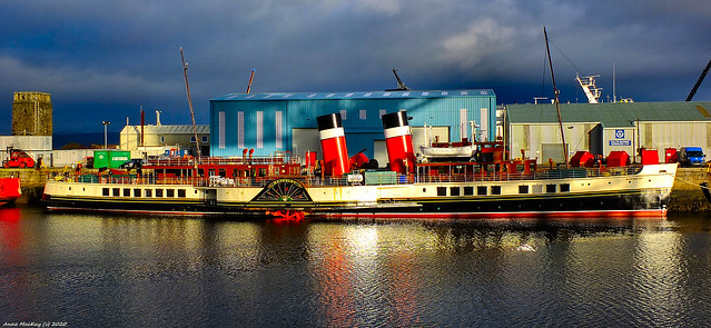 Scotland Greenock the paddle streamer Waverley in the ship repair dock early in the morning 17 January 2020 by Anne MacKay