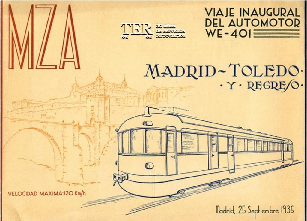 Anuncio del primer viaje del automotor Toledo- Madrid el 25 de septiembre de 1935. Compañía MZA. Fundación de los Ferrocarriles Españoles.