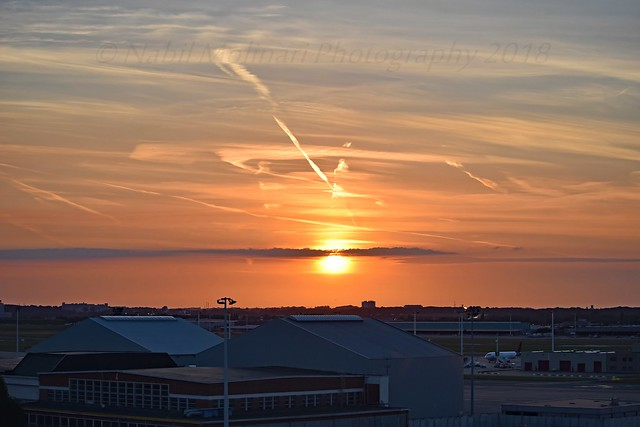 Sunset on Brussels Airport