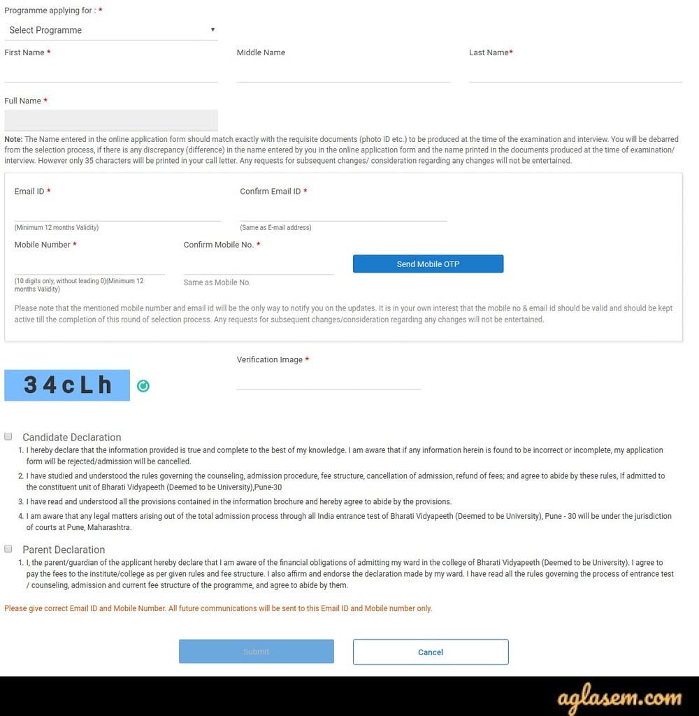 BVP CET Application Form 2020