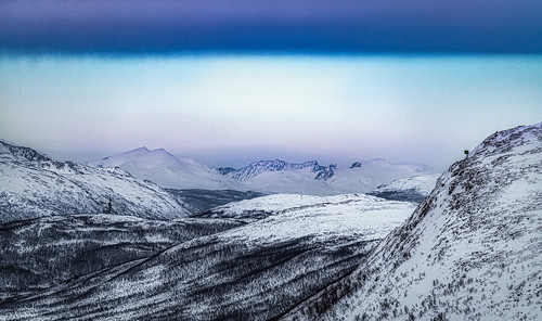 View of the surrounding mountains from the Big Rock (Storsteinen) above the city of Tromso, Norway - 57a