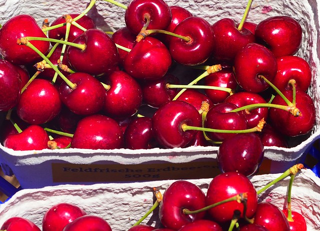 Sweet fresh Cherries during a Festival on a Farm in Germany in Weiterstadt 2019