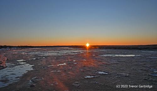 verycold winter sunrise moncton newbrunswick canada