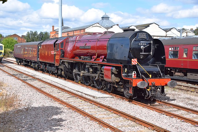 Heavyweight LMS  Pacific Locomotive No.6233 'Duchess of Sutherland' in the naughty corner at Norwich. 08 09 2019