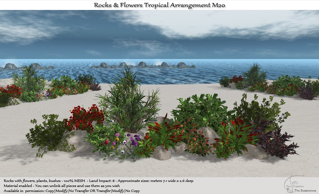 .:Tm:.Creation Tropical Flowers Rocks Arrangement M20