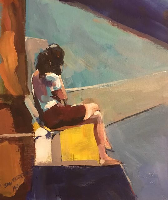 Sitting figure acrylic 10 by 12 Inches