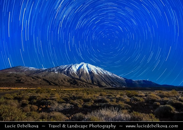 Spain - Canary Islands - Tenerife Island - Teide National Park - UNESCO World Heritage Site - Teide-Pico Viejo stratovolcano - Star trails
