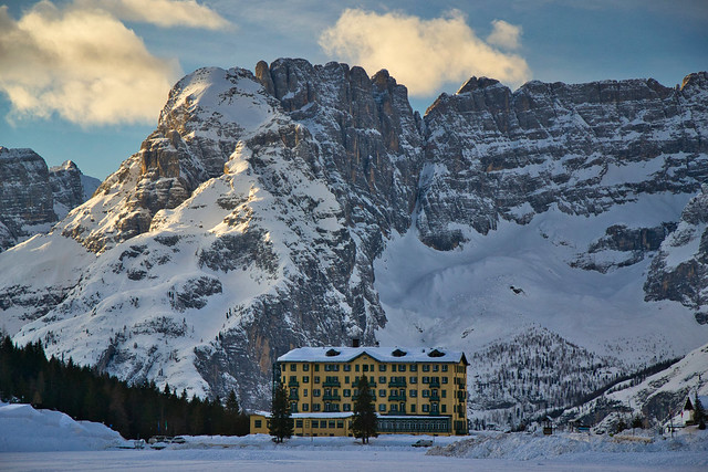 Grand Hotel Misurina on a fine early winter morning