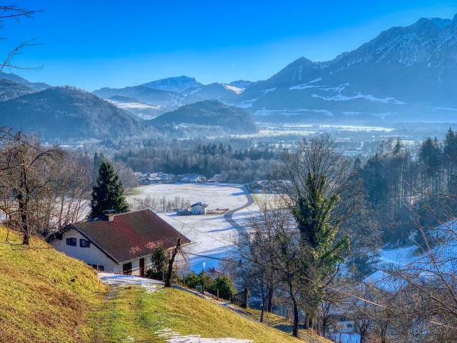 Winter landscape of Niederaudorf in the river Inn valley, Bavaria, Germany