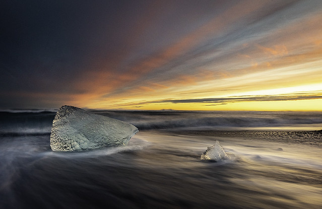 Ice cube during epic sunset at Diamond beach