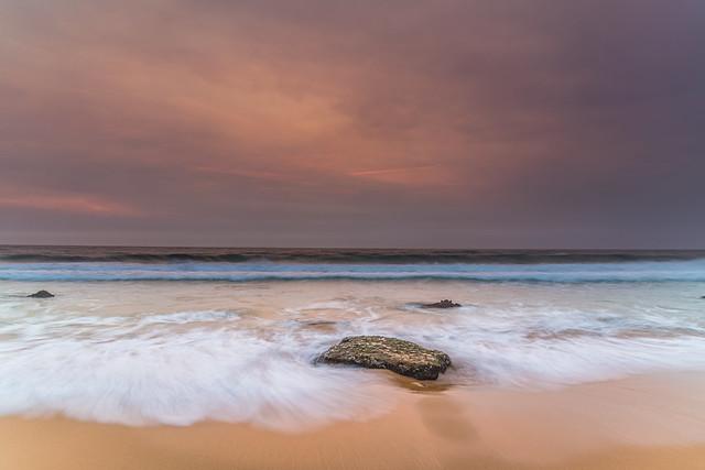 Sunrise Seascape and Hazy Sky with High Clouds