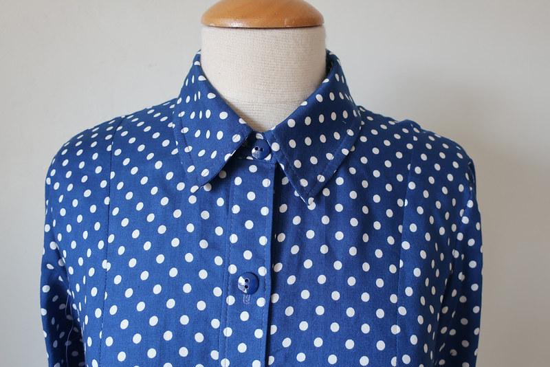 dot shirt collar and bow