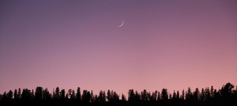 Sunset and a sliver of a Crescent Moon from our campsite in Tunnel Meadow