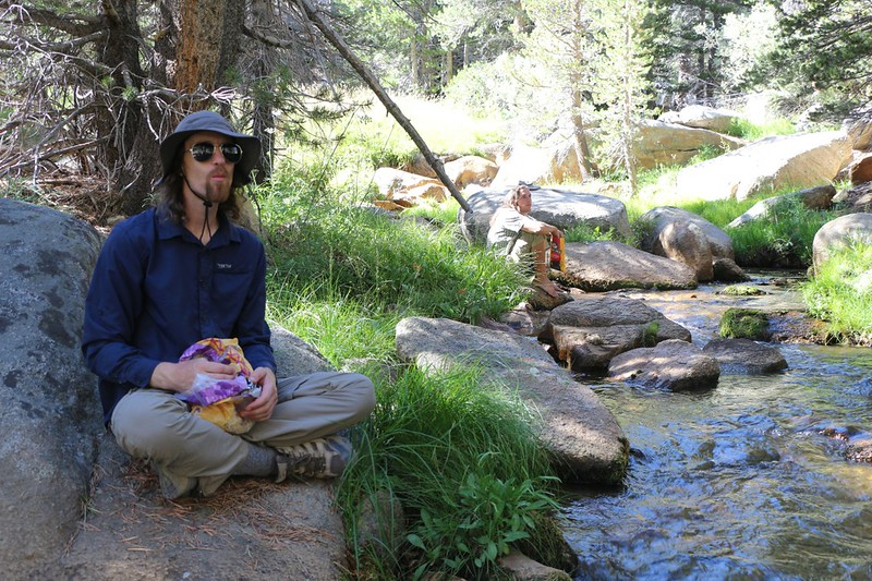 Taking a break in the cool shade near the water on the upper South Fork Kern River