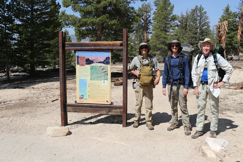 Evan, Keven, and I at the Cottonwood Pass - Trail Pass Trailhead in Horseshoe Meadows