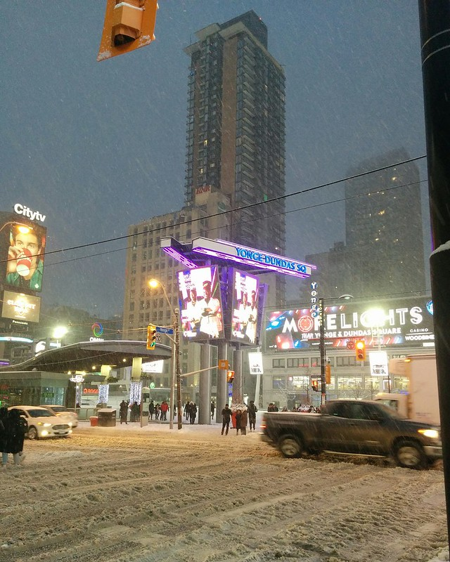 Yonge-Dundas Square, illuminated #toronto #yongeanddundas #yongedundassquare #intersection #winter #snow #twilight