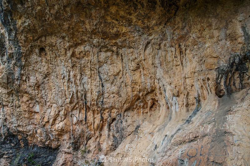 Pared de la entrada a la Cova de Cal Muntaner
