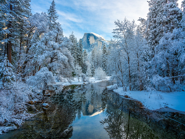 Half Dome Sentinel Bridge Yosemite National Park Fuji GFX100 Fine Art Snowstorm Landscape Nature Photography! Yosemite NP Winter Snow! Elliot McGucken dx4/dt=ic Master Fine Art Medium Format Photographer! Fujifilm Fujinon GF 32-64mm f/4 R Lm Wr Wide-Angle