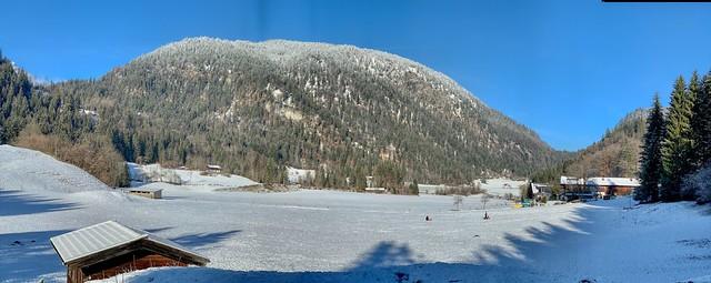 Winter panorama of Mühlbacher Berg near Kiefersfelden, Bavaria, Germany
