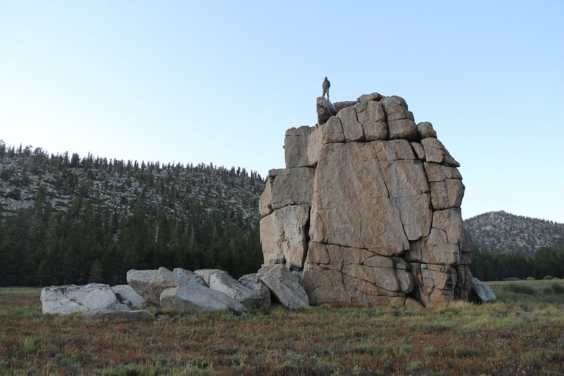 Evan up on top of the rock pile in Tunnel Meadow from our campsite