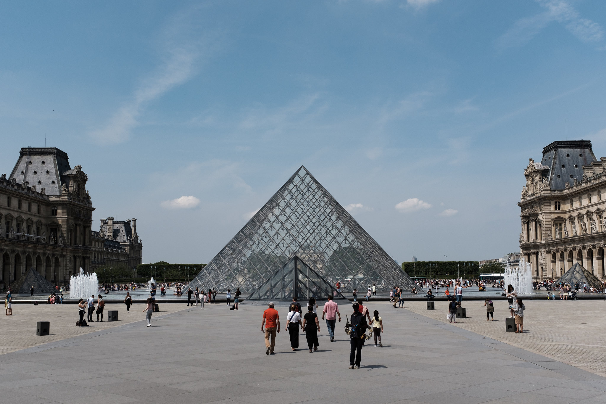 A photo of the Louvre Pyramid