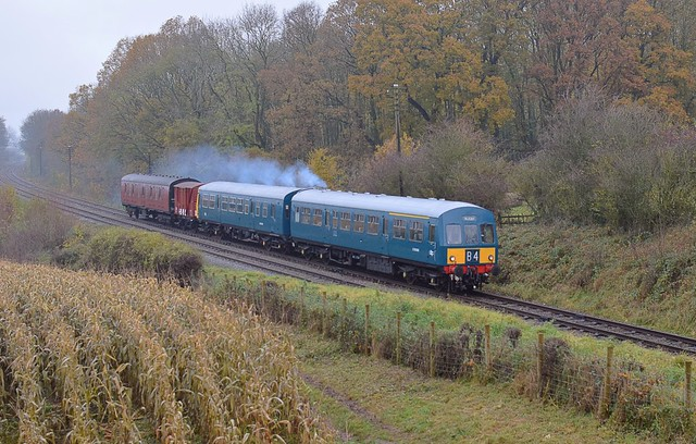 BR blue DMU power twin set, with a Van & BG, the 11.05 off Loughborough to Rothley. Great Central Railway Last Hurrah. 17 11 2019