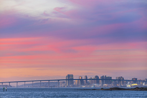 chulavista california unitedstatesofamerica sandiego downtown skyline sunset clouds sky weather bridge water ocean boats