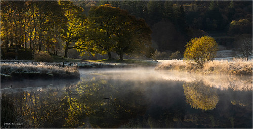 lakedistrict cold frost mist riverbrathay sunrise elterwater mood water trees england lakeland uk cumbria river autumn colours landscape nature outdoors reflection spiegelung bäume ufer grass