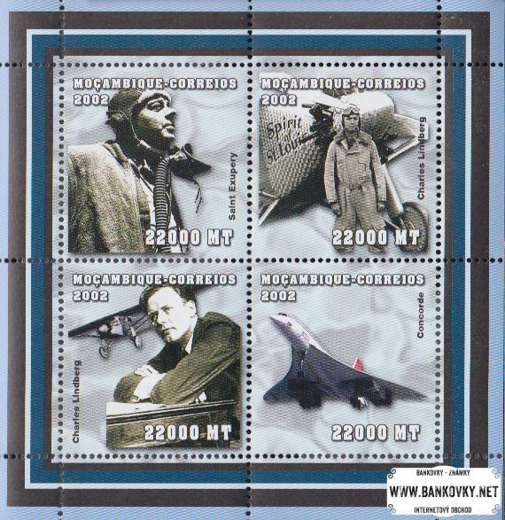 Známky Mozambik 2002 Letectvo MNH hárček