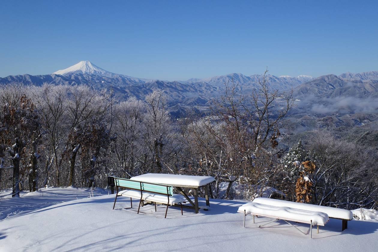 陣馬山から眺める富士山と南アルプス