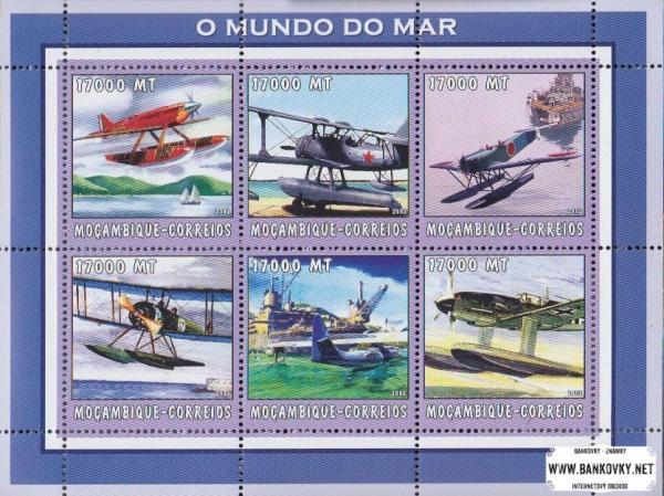 Známky Mozambik 2002 Vodné lietadlá MNH hárček
