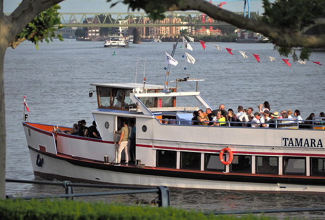 Germany - Wiesbaden-Biebrich on the River Rhine - Tourist Ship with a Round Trip - June 2019