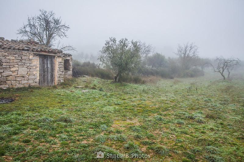 Cabaña y pozo junto al camino de Mas de Bondia a Guimerà
