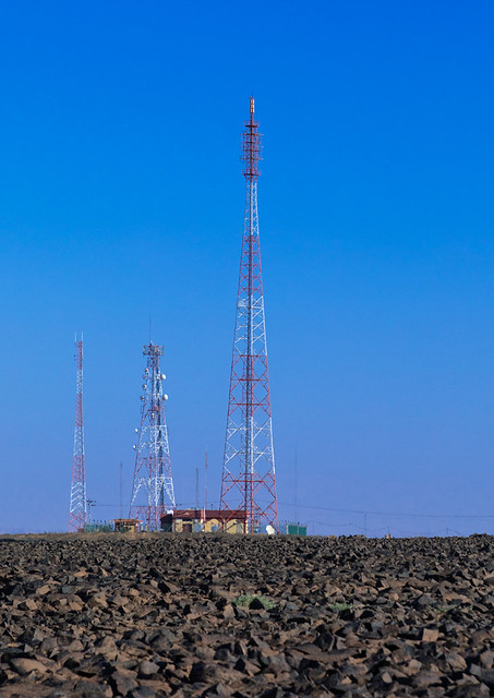 Cellular transmission towers at the top of a hill, Al Madinah Province, Alula, Saudi Arabia