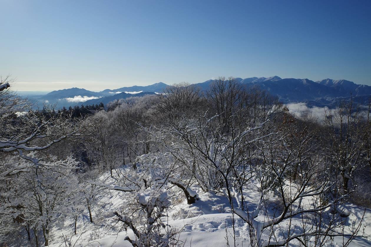 冬の陣馬山山頂から眺める丹沢